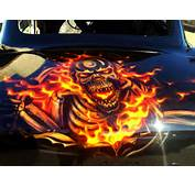 Skulls And Flames Ford  Airbrush Art Professional Air
