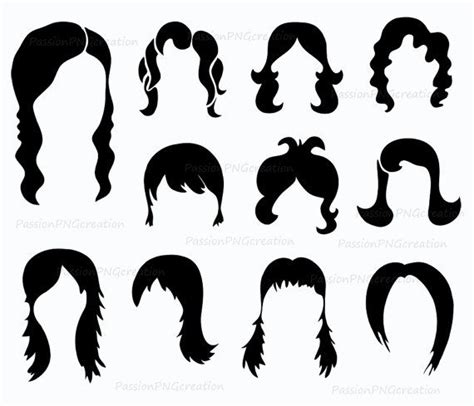 hair style photo booth digital wig clipart photobooth props printable digital