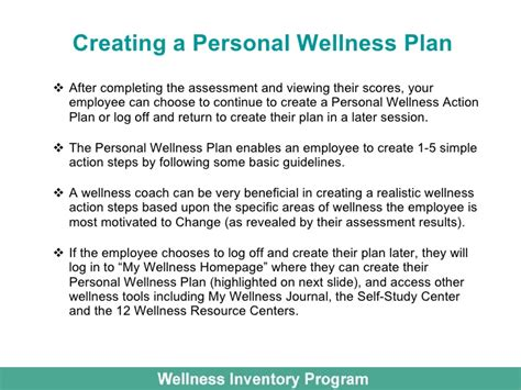 Wellness Inventory For Employee Wellness Personal Wellness Plan Template