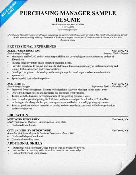 procurement manager resume purchasing manager resume samples