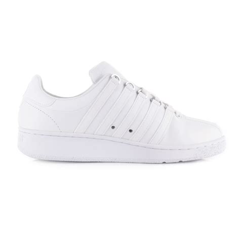 k swiss classic shoes mens k swiss classic vn white white leather trainers