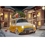 Images New Year Yellow Tree Snow Present Cars