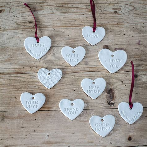 Heart Decorations For The Home by Gift Message Porcelain Heart Decorations By Clare Gage