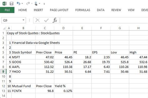 free stock quotes free stock quotes in excel