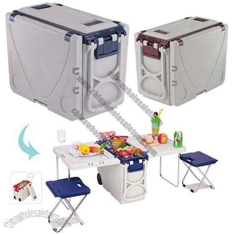Cooler With Table And Chairs by Multi Function Expandable Rolling Cooler Picnic Table
