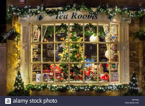 broadway tea room christmas tree shop display window at