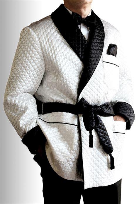 veste d interieur en soie satin matelasse avec contrastes