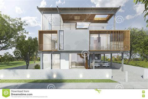 fachadas modernas de estilo contempor 225 neo 3d que rinde el frente de la casa moderna con buen dise 241 o