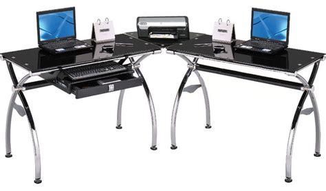 computer desk in black tempered glass modern home