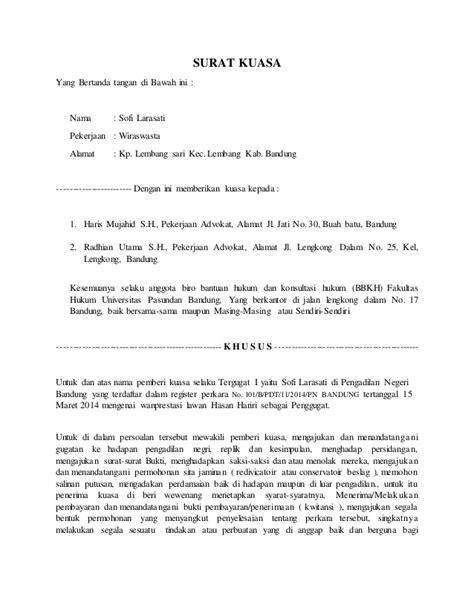 contoh surat kuasa wanprestasi wisata dan info sumbar