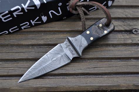 Handmade Neck Knife - handmade damascus knife neck knife with sheath