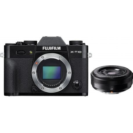 fujifilm x t10 + 27mm f/2.8, black mirrorless cameras
