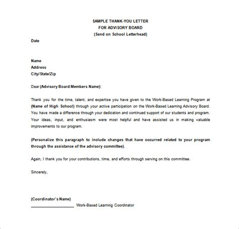 Thank You Letter For Board thank you letter 58 free word excel pdf psd format free premium templates