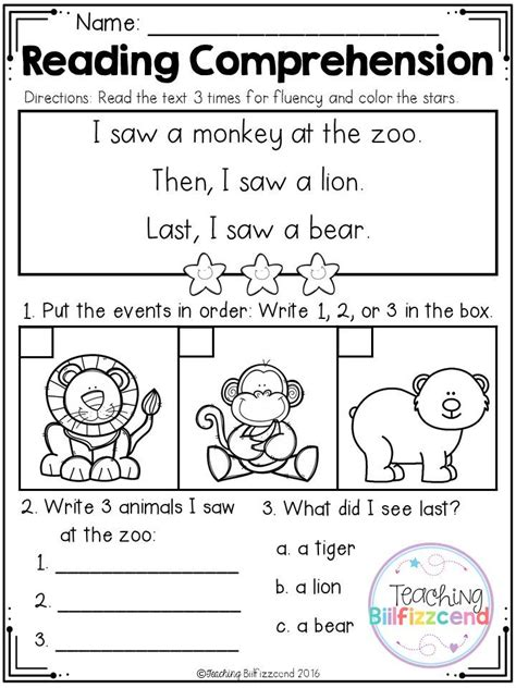printable reading comprehension tests 212 best images about fluency on pinterest first grade