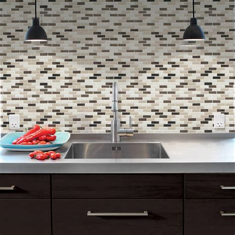self adhesive kitchen backsplash tiles smart tiles 9 10 in x 10 20 in mosaic peel and stick