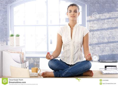 Meditation Desk by Pretty Meditating On Top Of Desk Royalty Free Stock