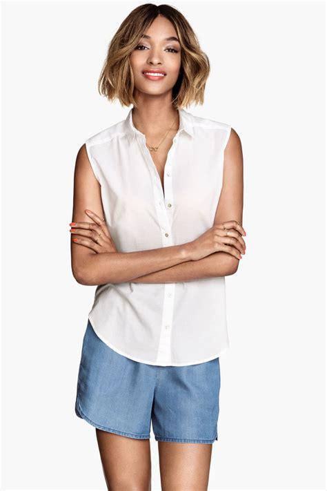 Hm Blouse White sleeveless cotton blouse white sale h m us