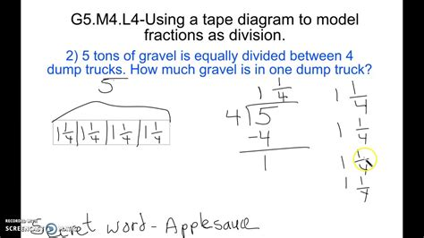 diagram with division g5 m4 l4 using a diagram to model fractions as division