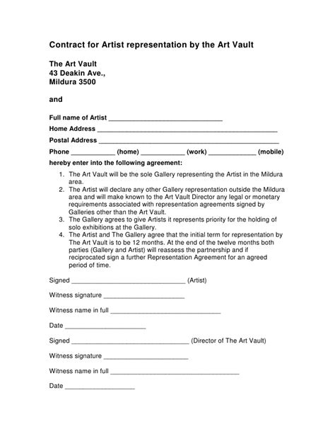 Contract For Artist Representation By The Art Vault The Art Artist Investor Agreement Template
