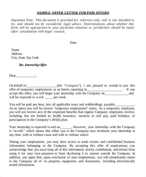 Offer Letters For Interns internship offer letter template 7 free word pdf