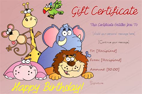 Animal Small Gift Cards Template madagascar themed birthday gift certificate