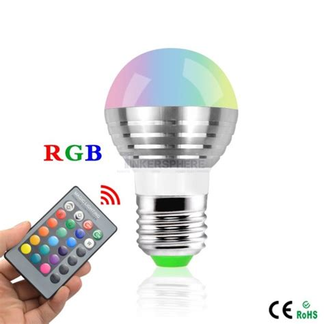 9 99 Smart Rgb Light Bulb With Remote Tinkersphere Rgb Led Light Bulb With Remote