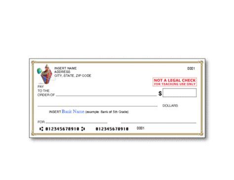 bank check template | education world