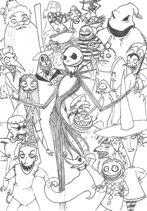 Nightmare Before Characters Coloring Pages Nightmare Before Christmas Characters Drawings Search by Nightmare Before Characters Coloring Pages