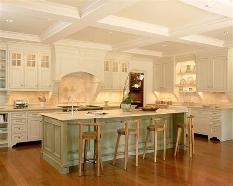 Green Kitchen Islands by Traditional Kitchen With Charming Off White Kitchen