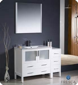 fresca torino 48 inch w vanity in white finish with side