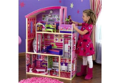 tall barbie doll house kidkraft wooden modern dream glitter dollhouse fits barbie disney toy story
