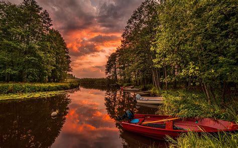 beautiful sunset landscape  australia river boats