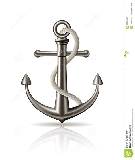 anchor with on white background stock vector image