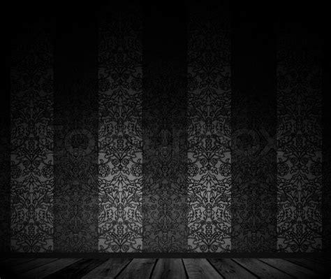 dark vintage wallpaper dark empty room with vintage wallpaper stock photo