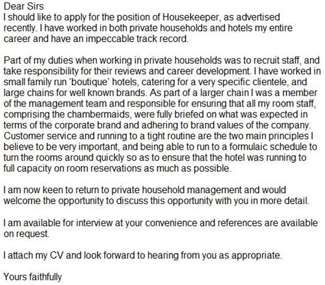 Cover Letter For Housekeeping Housekeeper Cover Letter Exle Learnist Org