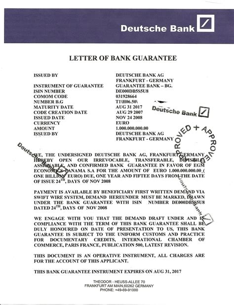 Deutsche Bank Letter Of Guarantee more mystery money at deutsche bank ppp kingdom
