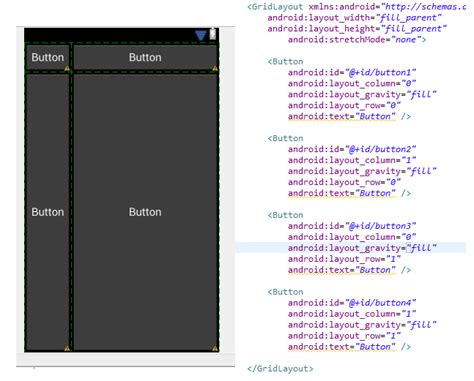 android set layout width from code android align buttons in gridlayout stack overflow