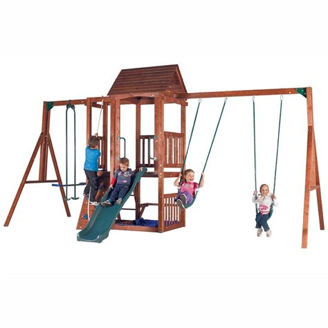 action swing sets action mourne deluxe wooden swing set outdoors and