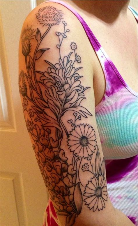 texas sleeve tattoo wildflowers new sleeve getting color in