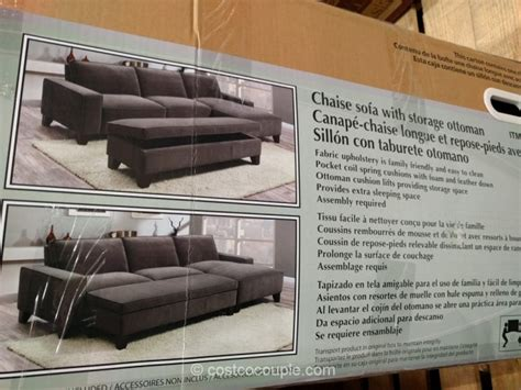 costco sofa bed with storage fabric chaise sofa with storage ottoman