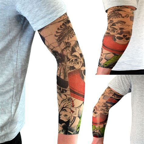 fake tattoo sleeve stretch sleeves arms fancy dress