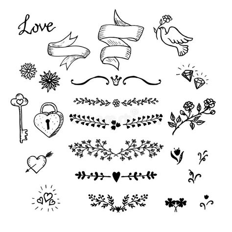 decorative classic wedding design elements vector wedding hand made graphic set flowers ribbons and