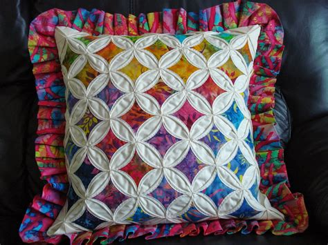 Patchwork Cathedral Window - cathedral window patchwork pillow national quilters circle