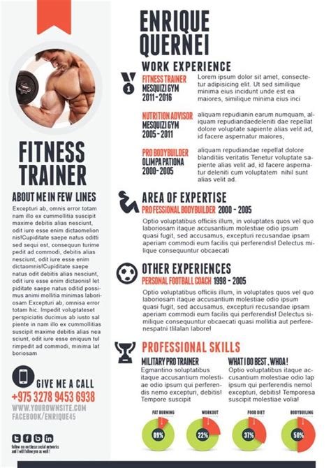 fitness trainer curriculum vitae template creative