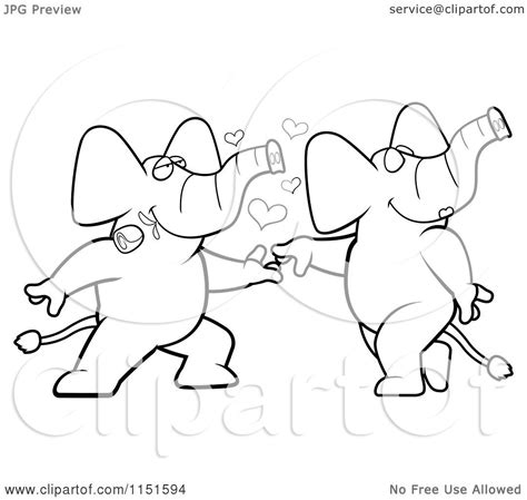 dancing elephant coloring pages cartoon clipart of a black and white romantic elephant