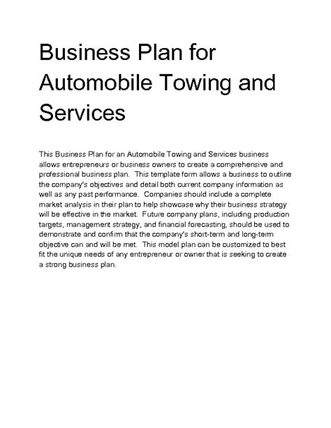 towing business plan template towing business plan template 28 images buy essay