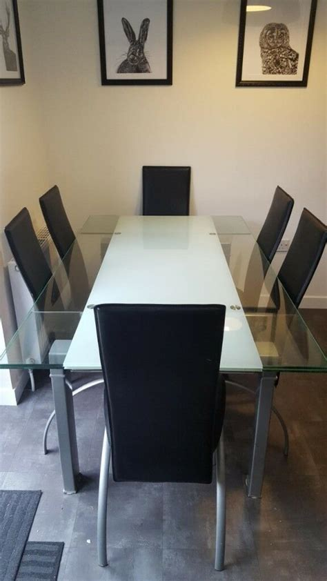 large glass dining room table   chairs  alloa