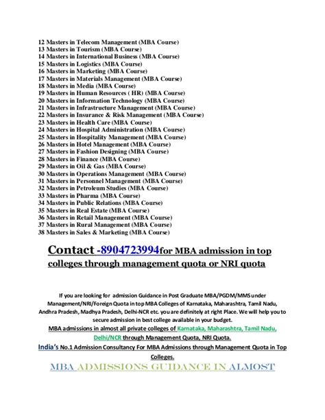 Courses Offered In Mba by List Of Courses In Mba 2015 Admission Through Management Quota