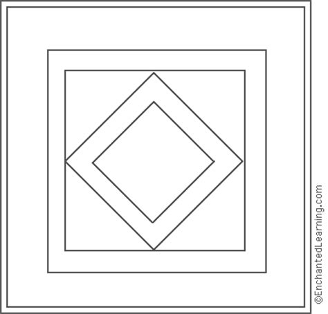 amish quilt diamond center coloring page