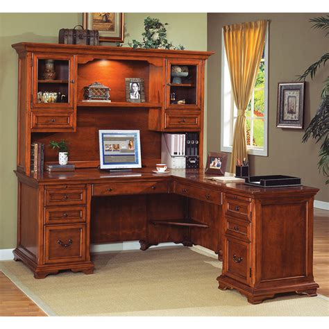 Furniture Amazing Brown L Shaped Desk Design L Shaped Home Office Desk And Hutch